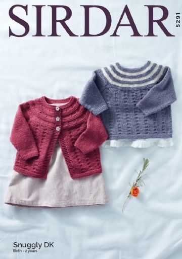 Baby Girl's Cardigan & Sweater in Snuggly DK Knitting Pattern , Sirdar 5291